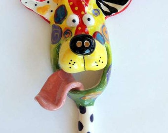 Small Dog Mask with Leash Hook Ceramic Wall Hanging Handmade by Dottie Dracos, Wild Wild Things; ceramic dog mask,  D3169