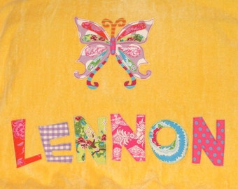 Personalized Large Sunshine Yellow Velour Beach Towel with Beautiful Butterfly, Pool Towel, Camp Towel, Kids Bath Towel, Bridal Party Gift
