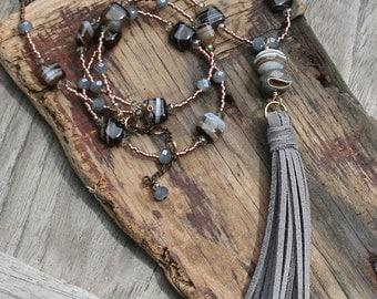 Tassel Necklace, Bohemian Tassel Necklace, Festival Necklace, Layering Necklace, Bohemian Necklace, Long Boho Necklace, Gray Tassel Necklace