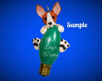 Red and white Basenji dog Christmas Holidays Light Bulb Ornament Sally's Bits of Clay PERSONALIZED FREE with dog's name