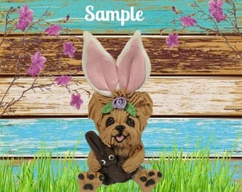 Yorkie Yorkshire Terrier Easter dog with Chocolate Bunny OOAK Clay art by Sallys Bits of Clay