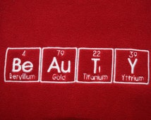 BeAuTY Chemistry Scarf Science Geek Periodic Table BeAuTiY In Red and White