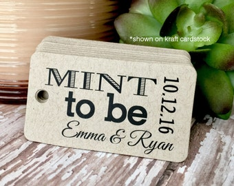 Mint to Be Tags, Wedding Tags, Personalized Tags, Custom Wedding Tags, Gift Tags, Personalized, Custom Tags - Set of 25