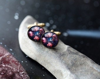 Bear Paw Nebula Cuff Links - Galaxy Accessories - Wedding, Gifts for Men, Pink and Blue Cufflinks, Science Wedding, Outer Space, Fathers Day