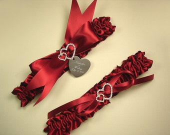 Red Wedding Garter Set, Personalized Satin Garters with Engraving and Rhinestone Linked Hearts