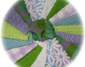 Vintage Chenille Bedspread Patchwork Quilt Squares Kit Purple Lime Aqua Blue DIY KIT 27 - 6 inch Patchwork Blocks Spring Mix