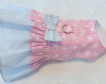 Dog Harness Dress Starfish and Blue Seersucker Stripe