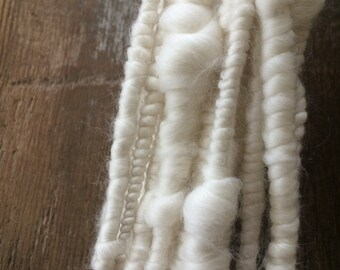 Nights in White Satin wild art yarn coiled chunky bulky 6 yards wool yarn white trim felting weaving pure simple chic luxury beehive