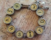 NEVER SAY DIE - Vintage Typewriter Key Bracelet