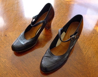 1940's Black Leather Mary Jane Oxford Shoes with Stacked Heels-Size 7