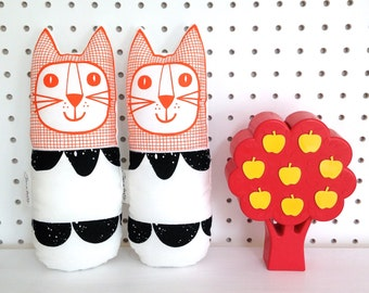 New Scandi Scallop Fabric Toy Cat by Jane Foster - screen printed face  - original design