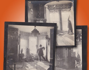Lot of 3 Very Rare 1910s Photos of HALLOWEEN Decorations - Scarecrow, Witch, Cauldron, Jack O'Lantern, Owls, Corn Stalks - Amazing