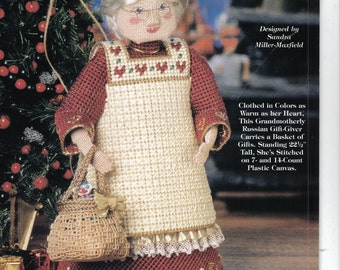 Old World Santas ~ Kristovym Babouschka ~  plastic canvas book ~  Needlecraft Shop