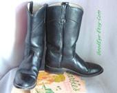 Vintage Black Leather Roper Boots DAN POST Women size 6 m Eur 36 UK 3 .5 Biker Rockabilly Western