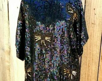 Vintage JEWEL QUEEN Iridescent Sequins Bow Top M
