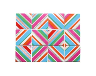 Greeting Cards, Colorful Stripes, Pink Card, Stationery Set, Blank Note Cards, Cute Stationery, Gifts Under 10, Thank You Cards, Gift Tags