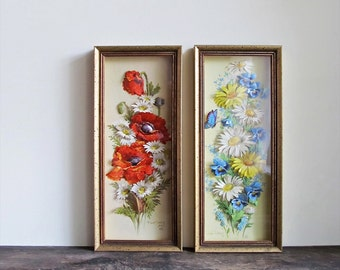 Vintage Robert Laessig 3D Paper Cut Flowers Framed Set