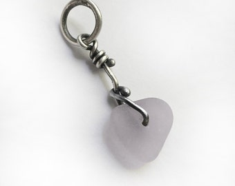 Almost Lavender Seaglass Beach Glass Sterling Silver Charm Pendant Doohickey Pastel Pale Lavender F