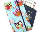 Travel Wallet, passport holder, family travel wallet, travel organizer, passport wallet, document holder - Owls on Sky Blue