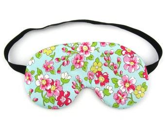 Flowers on Sky Blue Womens Sleep Eye Mask, Sleeping Mask, Travel Mask