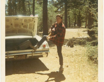 vintage photo 1970 Young Man Plays Guitar Makes Music in Woods Color Snapshot Photo