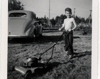 vintage photo 1940 Little Boy Shirtless Mowing the Lawn Snapshot photo
