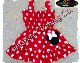 Custom Boutique Infant Baby Girl Clothing Minnie Mouse Polka Dot Summer Smocked Dress 3 6 9 12 18 24 month size 2T 2 3T 3 4T 4 5T 5 6 7 8