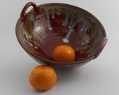 Stoneware Bowl - Ceramic Centerpiece - Salad Server - Fruit Bowl - Ready to Ship - Brick Red, Jasper, and Creamy Drips - Gift Item  b353
