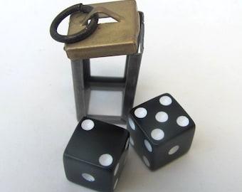 Dice Pendant/ Vintage 3d DICE charm. *BULK OPTIONS* Lucky 7. Gamblers Gamers Mens Jewelry. Retro circa 1970s. Brass ox Black Bronze  s48