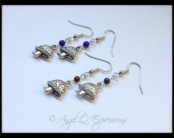Groovy Magic Shrooms Earrings Gift Set of Two with Amethyst and Jasper Beads