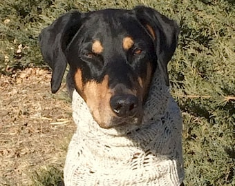 Hand knitted Snood for Dog - Winter Dog Snood with lacey leaf pattern - M to L Dog - Lace Snood for Dog - Snood for Dog
