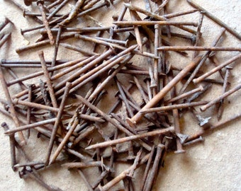 Rusted Nails Found Objects for Assemblage, Altered Art or Sculpture - Industrial Salvage