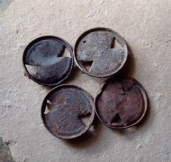 Rusted Round Metal Lids with Holes Vintage Beer Can Tops  Found Objects for Sculpture, Assemblage or Altered Art