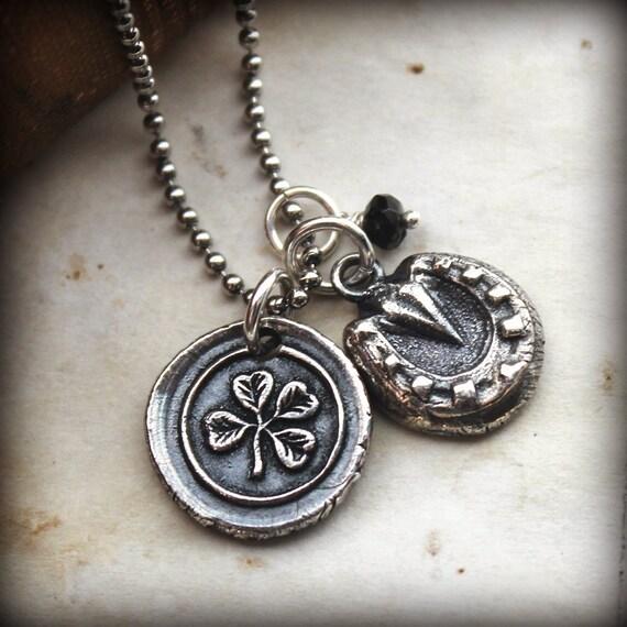 Good Luck Charms Necklace - Shamrock, Horseshoe and Green Tourmaline Stone - E2315