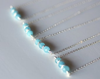 Aquamarine Necklace With Diamonty Rondelles, Blue Necklace
