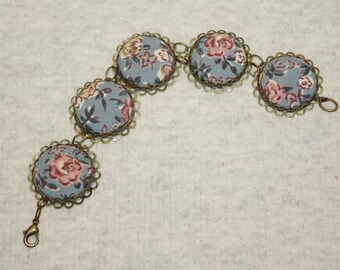 Bracelet Covered Buttons BLUE ON BLUE Vintage Fabric Handmade Fabulous Gypsy Boho Rayon Upcycled Blouse