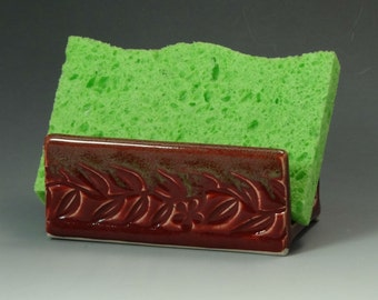 Ceramic Sponge Holder, Pottery Sponge Holder in Cranberry Red with Olive Green Edge, Soap Dish - READY TO SHIP