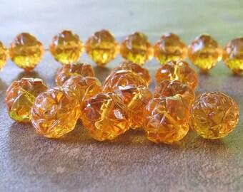 Transparent Topaz Czech Glass Bead 7x8mm Rosebud : 12 pc Golden Topaz Czech Rosebud