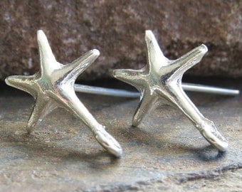 Sterling Silver Star Bali Handmade Post Ear wires 15.7mm x 11.5mm : LAST 1 Pair Star Earwire