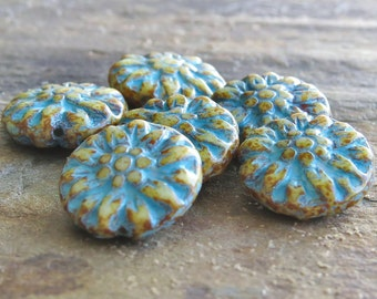 Cream Turquoise Picasso Dahlia Czech Glass 14mm Flower Beads : 6 pc Beige Dahlia Flower