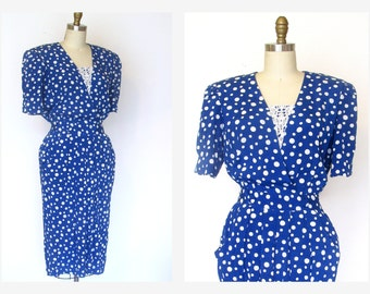 Polka Dot Dress 80s Blue Polka Dot Dress w Lace Detail Loose Pleated Dress Sz M Pocket Dress
