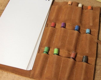 Suede drawing case with pad and pastels lots of compartments tie closure Art kit Travel Drawing Supplies