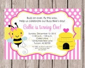PRINTABLE Pink Bumble Bee Birthday Party Invitation / Print Yor Own BeeDay Invitation with Pink Bumble Bee / Any Age / You Print - 0032