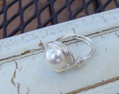 Pearl Ring, Silver Pearl Ring, ELEGANT Jewelry, Silver Ring, Wire Wrapped, Swarovski, Size 6.5, 6.75, 7.25, 7.5, 8, 9.75, 10, 11, BEAUTIFUL