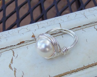 Pearl Ring, Silver and Pearl Ring, CUSTOM / Pick A Size Silver Ring, Wire Wrapped Swarovski, Size 6.5, 6.75, 7.25, 7.5, 8, 9.75, 10, 11