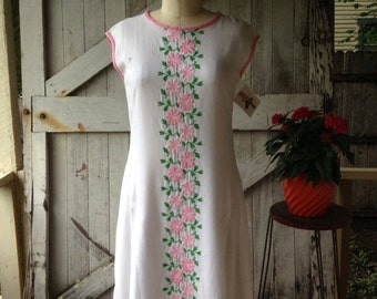 Sale 1960s sundress 60s dress embroidered dress sheath dress size medium Vintage dress pink and white