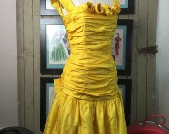 Sale 1980s dress yellow dress silk dress cocktail dress size large vintage dress 80s dress ruched dress