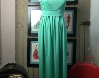 Fall sale 1960s dress maxi dress green dress sleeveless dress size medium Vintage dress high neck dress 60s dress hostess dress