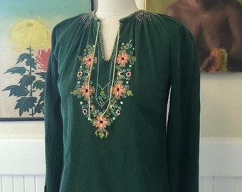 Fall sale 1970s blouse embroidered blouse vintage blouse size small bohemian blouse hippie shirt green tunic