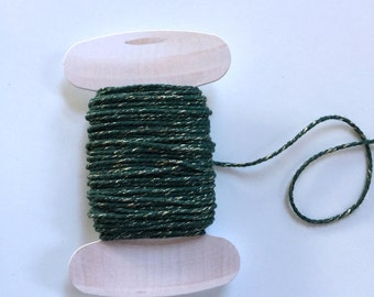 Green Gold Twine, Holiday Twine, 20 yards, Sparkle Bakers Twine
